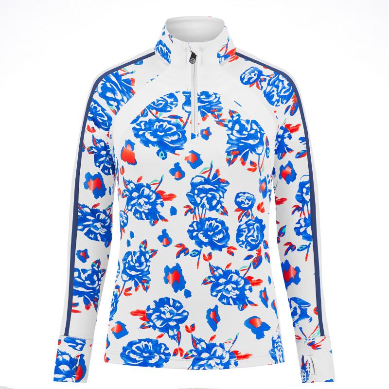 Pull graphique coloré Poivre Blanc 1944-WO Blue Flower Multi Femme