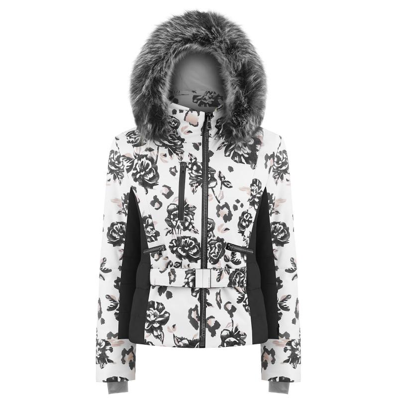 Veste de ski Poivre Blanc pour femme avec ceinture 0806-WO/B Brown Flower Black Femme