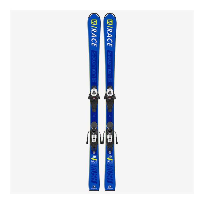 Pack Ski Salomon L S/RACE RUSH Jr + Fixations L6 GW J2 80 Bleu Enfant