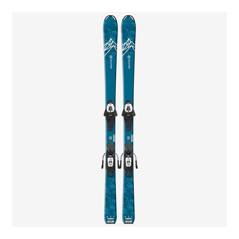 Pack Ski Salomon L QST MAX Jr M + Fixations L6 GW J2 80 Bleu Enfant