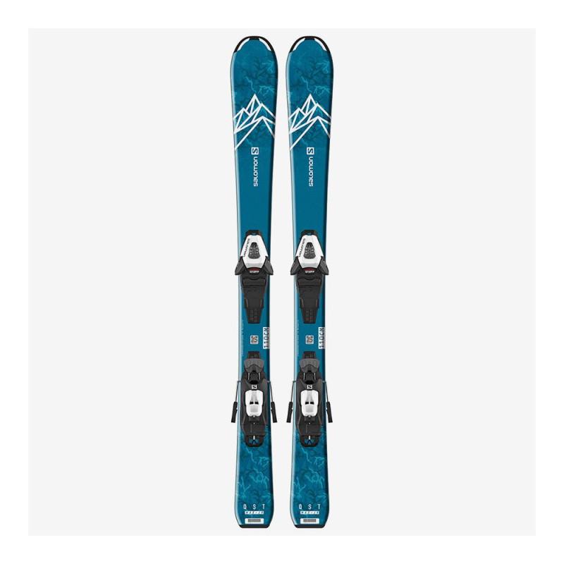 Pack Ski Salomon L QST MAX Jr S + Fixations C5 GW J75 Bleu Enfant