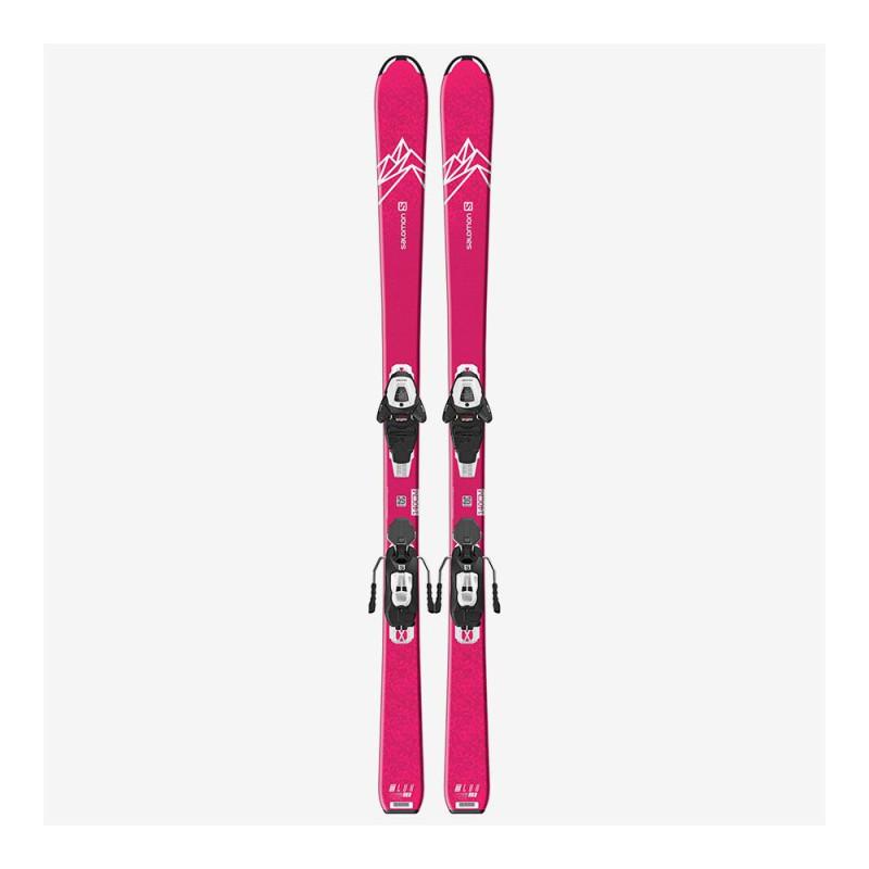 Pack Ski Salomon L QST LUX Jr M + Fixations L6 GW J2 80 Rose Enfant