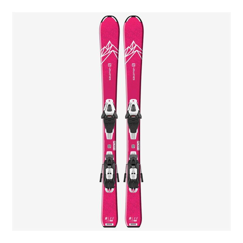 Pack Ski Salomon L QST LUX Jr S + Fixations C5 GW J75 Rose Enfant