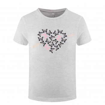 T-shirt Poivre Blanc T-shirt 4402 heart melange grey Fille