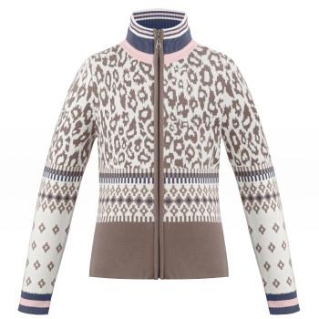 Veste en Maille Poivre Blanc KnitJacket 3502 panther brown Fille