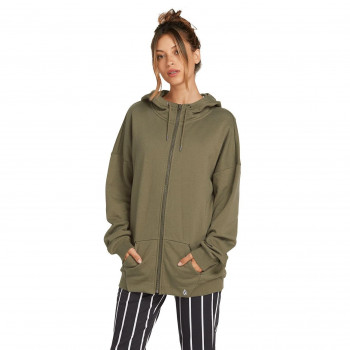 Sweat Volcom WALK ON BY TERRY Femme ARMY GREEN COMBO