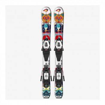 Pack Ski Salomon L T1 Jr XS + Fixations C5 GW J75 Noir Enfant