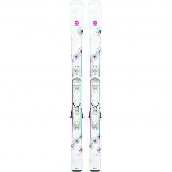 Pack Ski Rossignol FUN GIRL + Fixations KID-X 4 Enfant Blanc