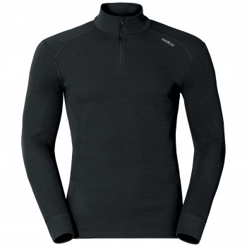 T-Shirt Technique Homme Odlo ML WARM Zip Black