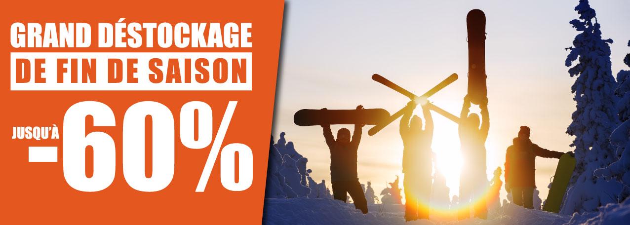 Déstockage de fin de saison ski et snowboard